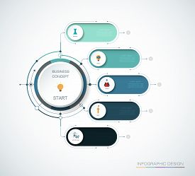 Vector Infographics Timeline Design Template With 3d Paper Label, Integrated Circles Background.time