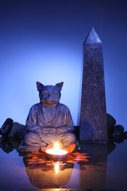 Yoga Kitty with obelisk
