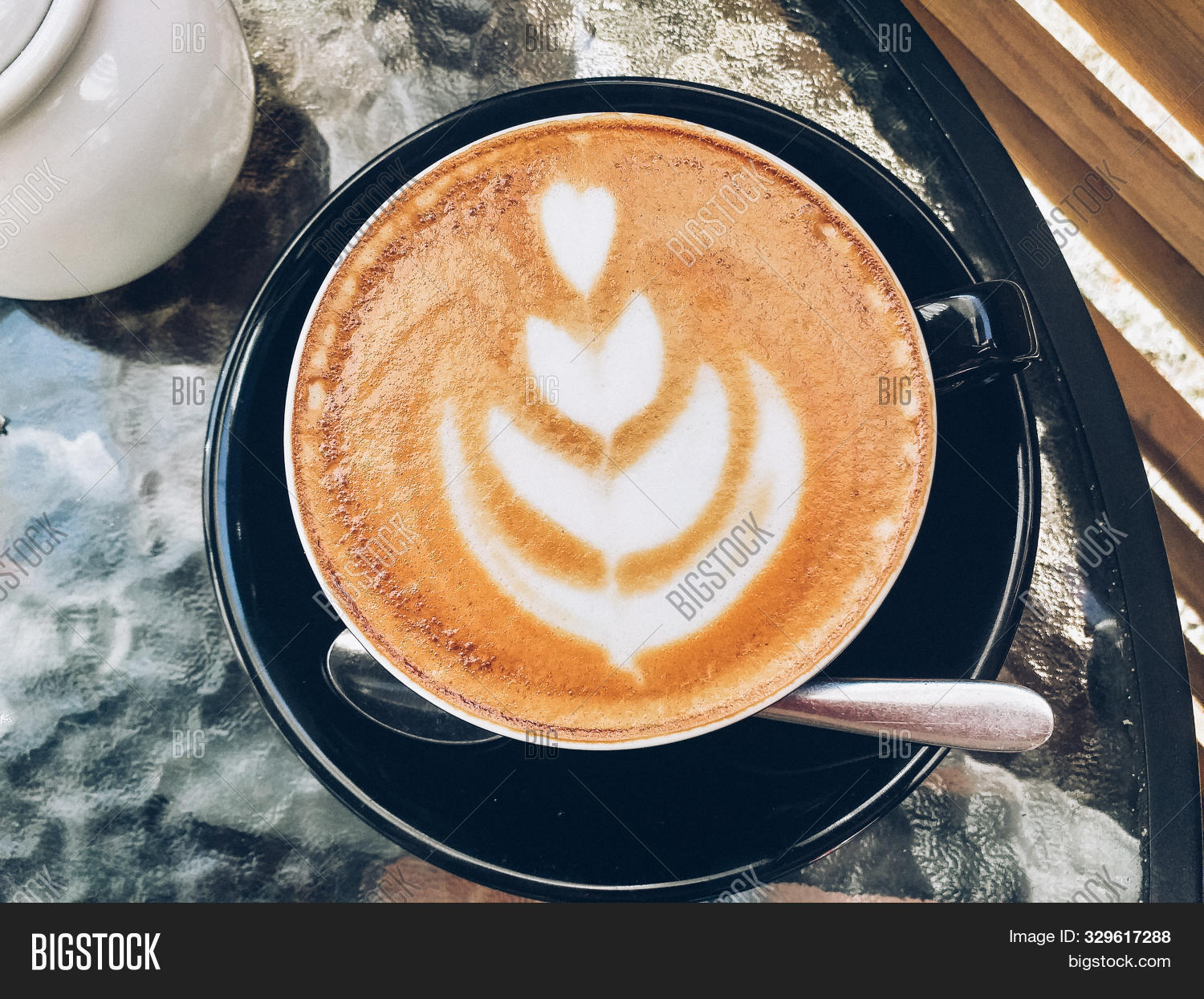 Top View On Hot Latte Image Photo Free Trial Bigstock
