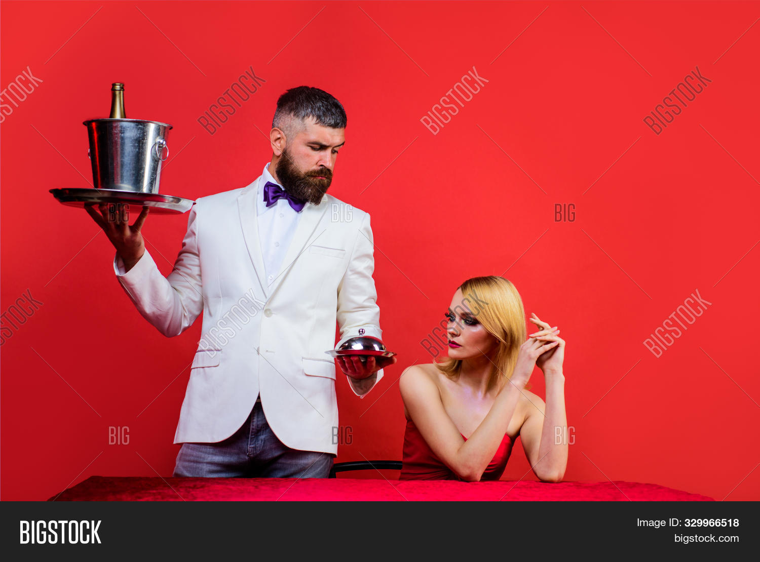 Waiter Serving Food Image Photo Free Trial Bigstock