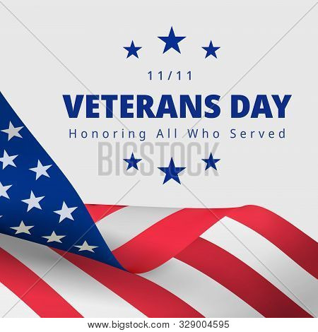 Happy And Free Veterans Day November 11th. Honoring All Who Served Greeting Card. Creative 3d Style