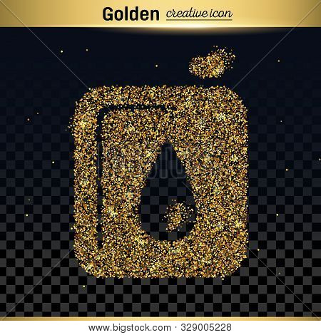 Gold Glitter Vector Icon Of Canister Isolated On Background. Art Creative Concept Illustration For W
