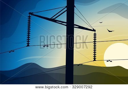 Detail Of A Power Line Front Of Blue Sky.