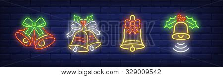 Bells With Mistletoe Leaves Neon Signs Set. Christmas, Signal, Attention Design. Night Bright Neon S