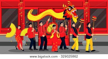 Happy People Celebrating Chinese Lunar New Year. Vector Flat Cartoon Illustration. Holiday Parade In