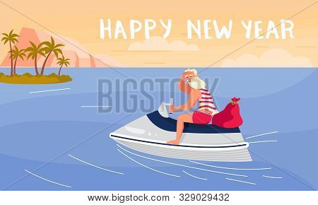 Merry Christmas And Happy New Year Card! Young Athletic Santa Claus On A Motorboat At The Tropical S