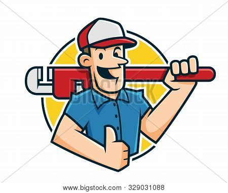 Plumber Mascot, Plumber Character, Worker Cartoon Cmile