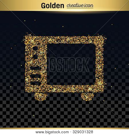 Gold Glitter Vector Icon Of Microwave Isolated On Background. Art Creative Concept Illustration For