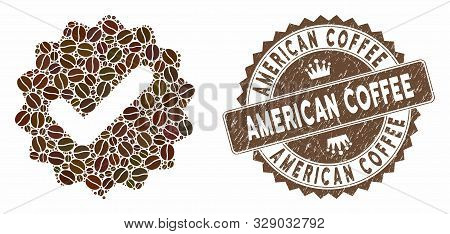 Mosaic Best Medallion And Rubber Stamp Watermark With American Coffee Phrase. Mosaic Vector Best Med