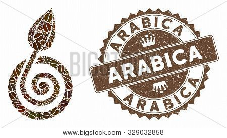 Mosaic Bud Sprout And Rubber Stamp Seal With Arabica Text. Mosaic Vector Bud Sprout Is Created With