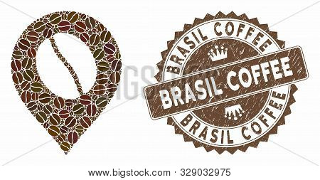Mosaic Coffee Bean Marker And Corroded Stamp Seal With Brasil Coffee Phrase. Mosaic Vector Coffee Be