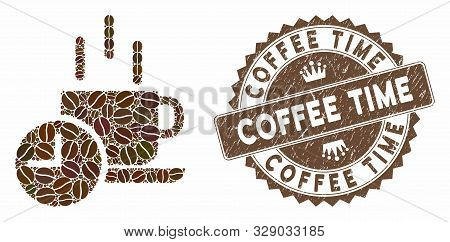Mosaic Coffee Break And Rubber Stamp Watermark With Coffee Time Caption. Mosaic Vector Coffee Break