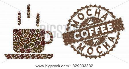Mosaic Coffee Mug And Corroded Stamp Seal With Mocha Coffee Caption. Mosaic Vector Coffee Mug Is Des