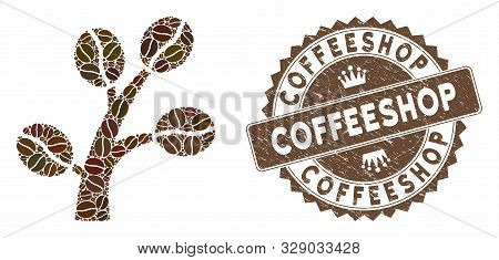 Mosaic Coffee Tree And Distressed Stamp Seal With Coffeeshop Caption. Mosaic Vector Coffee Tree Is C
