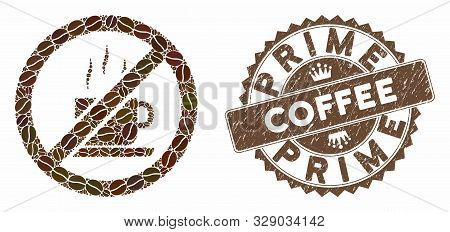 Mosaic Stop Coffee And Rubber Stamp Seal With Prime Coffee Text. Mosaic Vector Stop Coffee Is Compos