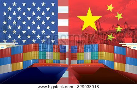 Concept Image Of Usa-china Trade War, Economy Conflict, Us Tariffs On Exports To China, Tradewar