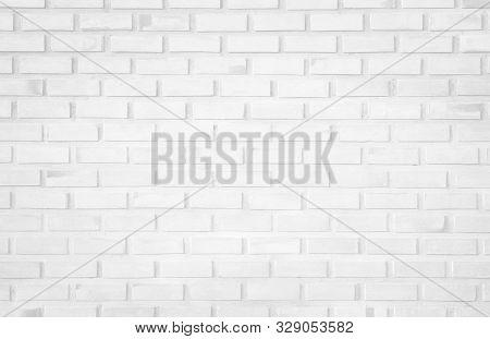 White brick wall texture background. Brickwork or stonework flooring interior rock old pattern clean concrete grid uneven bricks design stack. Square white brick wall background. Pattern of white brick wall background. Square white brick wall background. poster