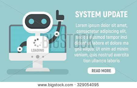 Bot System Update Concept Banner. Flat Illustration Of Bot System Update Vector Concept Banner For W