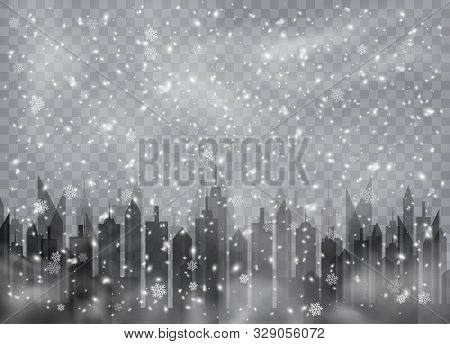 Snowfall Over The City. Snowflakes, Snow Background, Snow Flakes. Christmas Snow For The New Year.