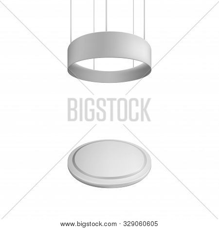 Blank Exhibition Stand. Illustration Isolated On White Background. Graphic Concept For Your Design
