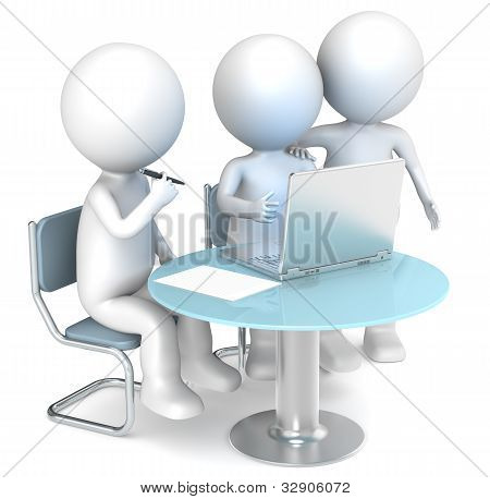 3D little human characters X3 working. Business People series. poster