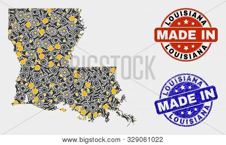 Mosaic Industrial Louisiana State Map And Blue Made In Grunge Stamp. Vector Geographic Abstraction M