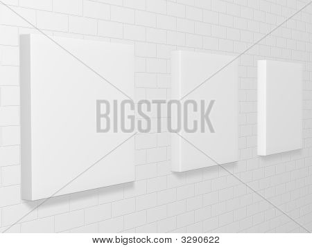 3d picture gallery on a brick wall poster