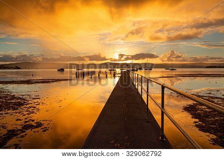 Vivid Sunset Skies And Water Reflections Views From The Jetty At Yattalunga To The Pool And Beyond M