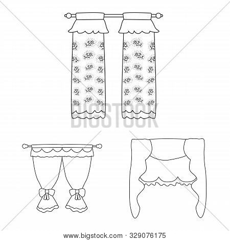 Vector Design Of Fabric And Decoration Sign. Collection Of Fabric And Cornice Vector Icon For Stock.