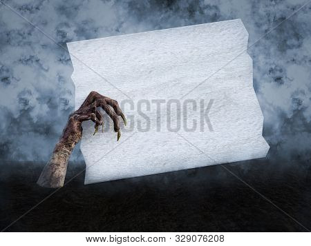 3D rendering of a monster or corpse hand with long creepy fingernails coming out of the ground, holding a blank white wooden sign with copyspace. Smoky background. poster
