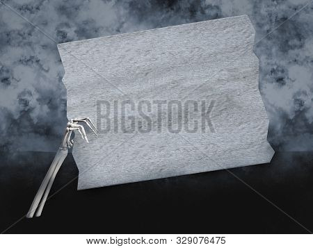 3d Rendering Of A Skeleton Hand Coming Out Of The Ground, Holding A Blank White Wooden Sign With Cop