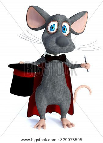 3d Rendering Of A Cute Cartoon Mouse Dressed As A Illusionist Or Magician, Holding A High Hat And A