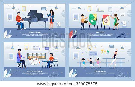 Music Piano Lesson, Art Drawing, Dance, Mental Arithmetic Courses Flat Banner Set. Cartoon Professio