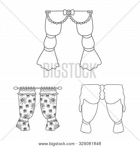 Isolated Object Of Fabric And Decoration Sign. Set Of Fabric And Cornice Stock Vector Illustration.