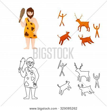 Vector Illustration Of Evolution And Neolithic Sign. Collection Of Evolution And Primeval Stock Vect