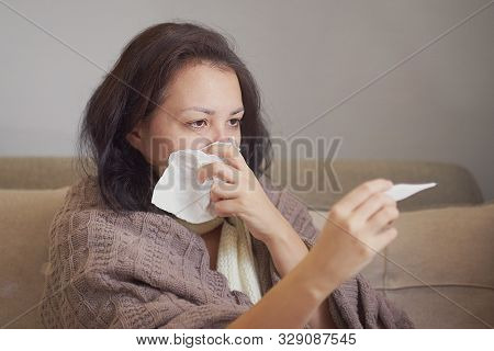 Ill Upset Woman Blowing Running Nose Got Flu Caught Cold Sneezing In Tissue Sit On Sofa, Sick Girlso