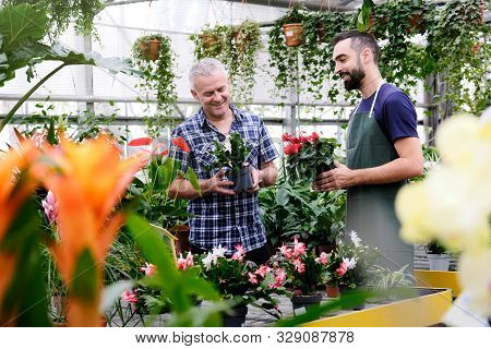 Sales Manager Talking To Client Buying Plant In Florist Shop
