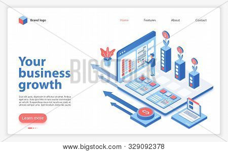Your Business Growth Landing Page Vector Template. Successful Entrepreneurship Website Homepage Inte