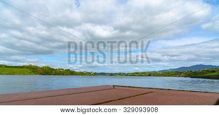 View Across Lake Karapiro From Viewing Deck Near Rowing Facility