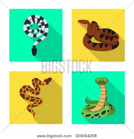 Vector Illustration Of Snake And Creepy Icon. Collection Of Snake And Wildlife Vector Icon For Stock