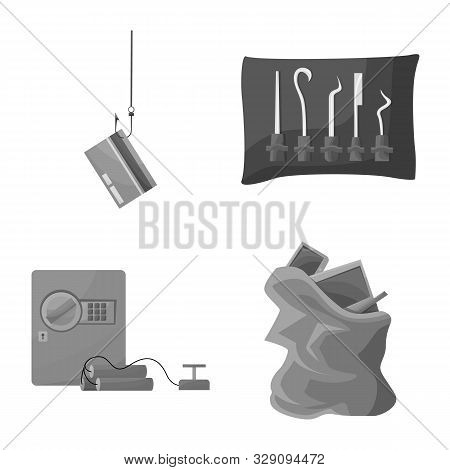 Vector Illustration Of Pickpocket And Fraud Symbol. Collection Of Pickpocket And Steal Stock Vector