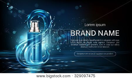 Cosmetics Bottle Anti Aging Product Tube With Infinity Water Splash Sign Mock Up Banner. Beauty Cosm