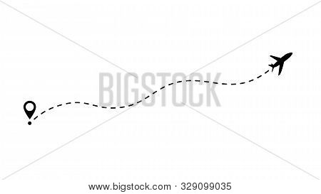 Flight Route Vector Illustration. Airplane Line Path Icon Of Air Plane Flight Route With Start Point