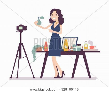 Beauty Blogger Streaming. Black Woman Reviewing Cosmetics Content For Blog, Website, Talking About H