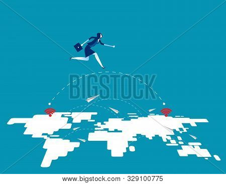 Great Business Technology Leap Forward. Concept Business Vector Illustration, Innovation, Jump, Succ
