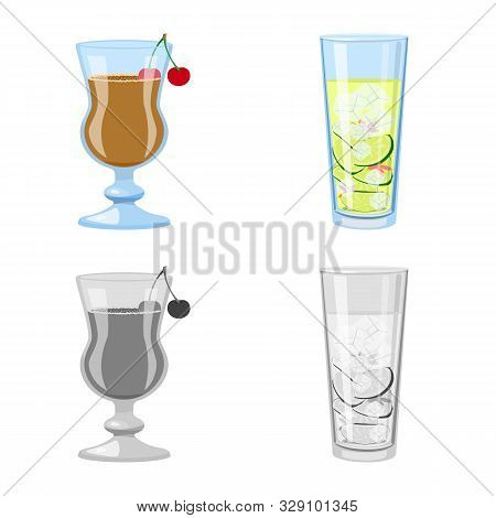 Vector Illustration Of Liquor And Restaurant Sign. Collection Of Liquor And Ingredient Stock Symbol