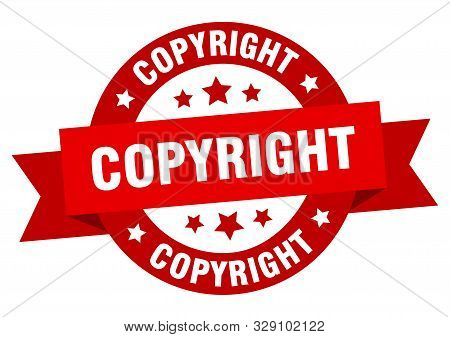 Copyright Ribbon Tag. Copyright Round Red Sign