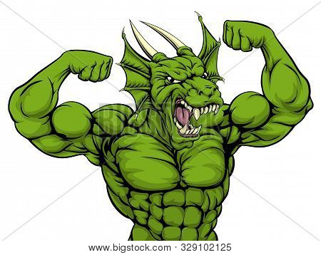 Cartoon Tough Mean Strong Green Dragon Sports Mascot Showing His Bicept Arm Muscles