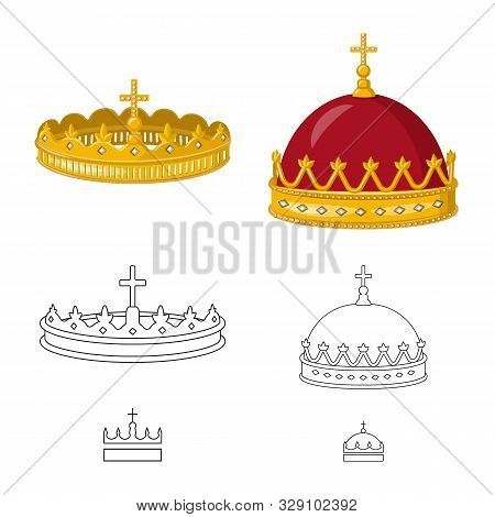 Vector Illustration Of Medieval And Nobility Symbol. Collection Of Medieval And Monarchy Stock Symbo