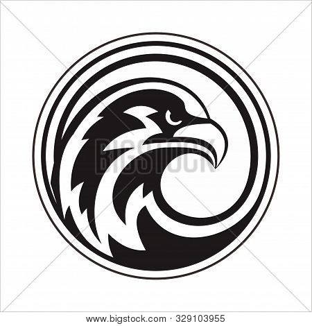 The Eagle Head Logo Is Full Circle With A White Background
